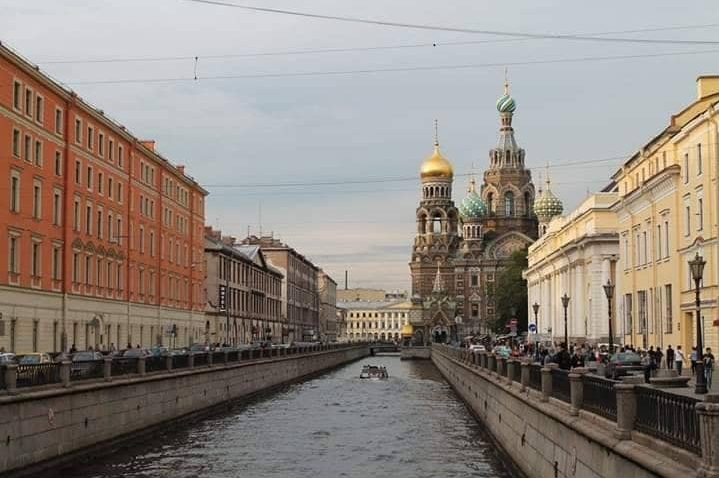 St Petersburg canal and church