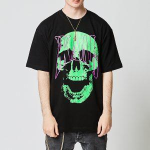 La Russe Skull T-Shirt (Black/Green & White)